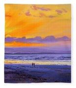 Sunset On Enniscrone Beach County Sligo Fleece Blanket