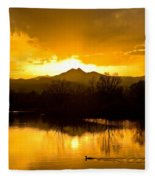 Sunset On Golden Ponds Fleece Blanket