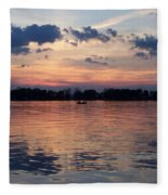 Sunset On Lake Mattoon Fleece Blanket