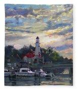 Sunset On Lake Shore Mississauga Fleece Blanket