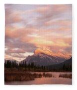 Sunset On Mount Rundle Fleece Blanket