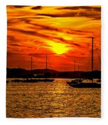 Sunset On Muskegon Lake Fleece Blanket