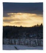 Sunset On Sabattus Lake Fleece Blanket