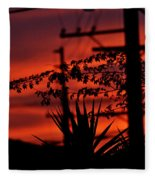 Sunset On Socal Suburb Fleece Blanket