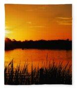 Sunset On The Alafia Fleece Blanket