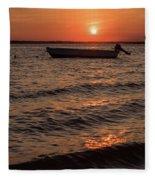 Sunset On The Bay Lavallette New Jersey  Fleece Blanket