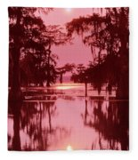 Sunset On The Bayou Atchafalaya Basin Louisiana Fleece Blanket