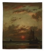 Sunset On The Coast 1870 Fleece Blanket