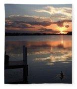 Sunset On The Dock Fleece Blanket