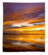 Sunset On The Harbor Fleece Blanket