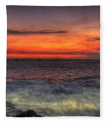 Sunset On The Harbor Fleece Blanket