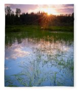 Sunset On The Marsh Fleece Blanket