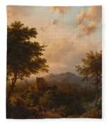 Sunset On The Rhine , Barend Cornelis Koekkoek Fleece Blanket