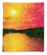 Sunset On The River Fleece Blanket