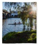Sunset On The River - Seville  Fleece Blanket