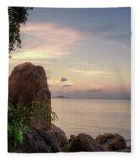 Sunset On The Rocks Fleece Blanket