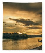 Sunset On The Willamette River Fleece Blanket