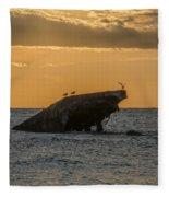 Sunset On The Wreck Of The Concrete Ship Atlantus Fleece Blanket