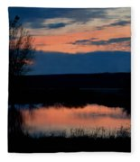 Sunset On Willow Pond Fleece Blanket