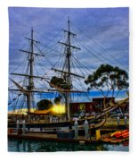 Sunset Over A Tall Ship Fleece Blanket