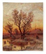 Sunset Over A Ukrainian Hamlet Fleece Blanket