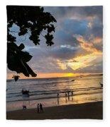 Sunset Over Ao Nang Beach Thailand Fleece Blanket