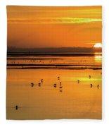 Sunset Over Arcata Marsh, With Avocets Fleece Blanket