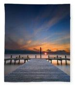 Sunset Over Barnegat Bay Fleece Blanket