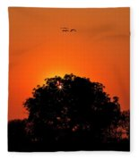 Sunset Over Botswana Fleece Blanket