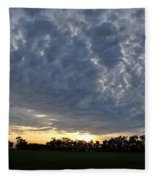 Sunset Over Farm And Trees - Distant View Fleece Blanket