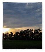 Sunset Over Farm And Trees Fleece Blanket