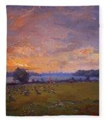 Sunset Over Gratwick Park Fleece Blanket