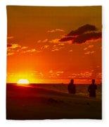 Sunset Over Indiana Dunes Fleece Blanket