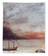 Sunset Over Lake Leman Fleece Blanket
