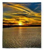 Sunset Over Lake Palestine Fleece Blanket