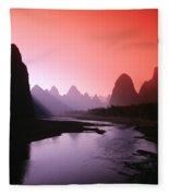 Sunset Over Li River Fleece Blanket