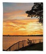 Sunset Over Lynch Park Beverly Ma Water Tower Fleece Blanket