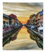 Sunset Over Naviglio Grande Fleece Blanket