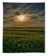 Sunset Over North Pas De Calais In France Fleece Blanket