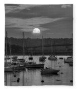 Sunset Over Salem Harbor Salem Beverly Bridge Black And White Fleece Blanket