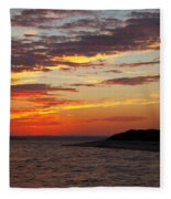 Sunset Over Sandy Neck Lighthouse Fleece Blanket