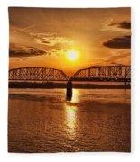 Sunset Over The Bridge Fleece Blanket