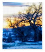 Sunset Over The City Fleece Blanket