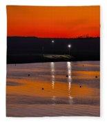 Sunset Over The Denison Dam Fleece Blanket