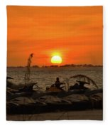 Sunset Over The Gulf 1 Fleece Blanket