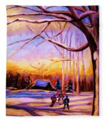 Sunset Over The Hockey Game Fleece Blanket