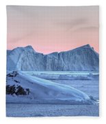 sunset over the Icefjord - Greenland Fleece Blanket