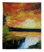 Sunset Over The Lake Fleece Blanket