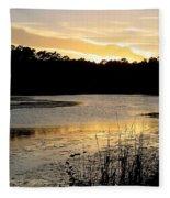 Sunset Over The Marsh Fleece Blanket