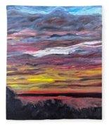 Sunset Over The Mississippi Fleece Blanket